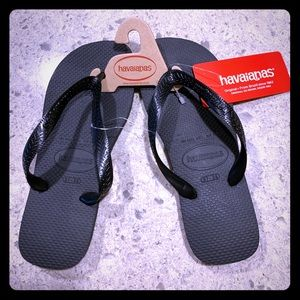 NWT Havianas Black Sandals Sz 37/38, Women's 7/8